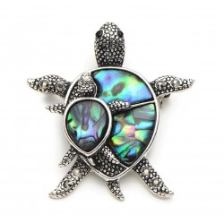 Vintage turtle brooch - with a colorful shell