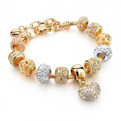 Elegant gold bracelet - with crystal beads & heart