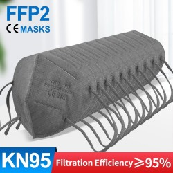 FFP2 - KN95 - protective face / mouth mask - 5-layer - reusable - grey - 10 - 100 pieces