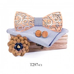 Cufflinks - handkerchief - bow tie - lapel flower - neck band strap - wooden set