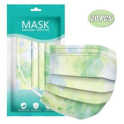 Mouth / face protective masks - 3-layer - disposable - tie-dye