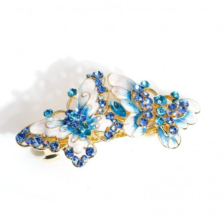 Vintage hair clip - with double crystal butterflies