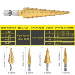 HSS drill bits - straight groove - titanium coated - for wood / metal cutting - 3 pieces