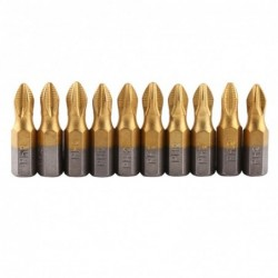 Magnetic screwdriver bits - titanium coated - non-slip - 1/4 inch hex shank - 25mm - 10 pieces