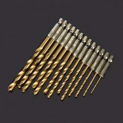 Steel drill bits - HSS titanium coated - 1/4 inch hex shank - high speed - 1.5-6.5mm - 13 pieces