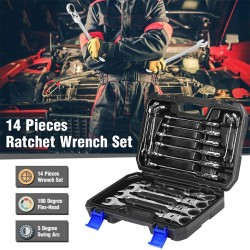 Car multi tool - ratchet wrench set - rotatable - 14 pieces