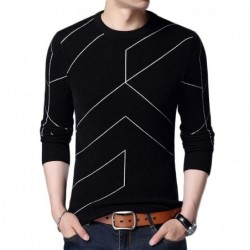 Fashionable warm sweater - slim fit - geometric lines print