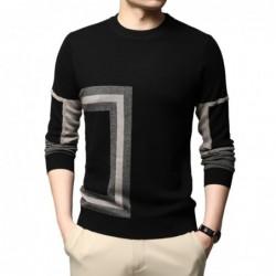 Fashionable warm men's sweater - knitted wool - geometric print