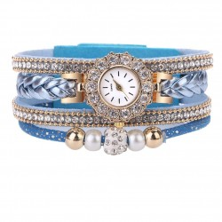 Multilayer bracelet with a round watch - crystals / beads