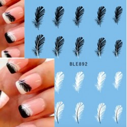 Black & white feathers - nail stickers - nail art - 20 pieces