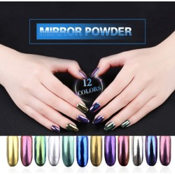 Magic powder - UV gel - nail glitter - mirror effect - 12 pieces