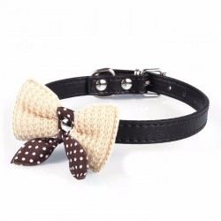 Leather collar with a knitted bow - a necklace for a dog, cat and pets