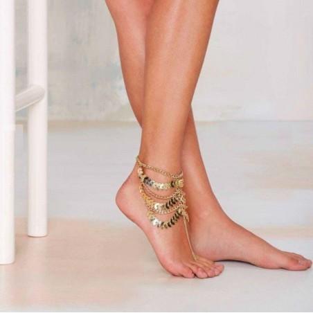 Gold Multilayer Quasten Kette Fußkettchen Armband