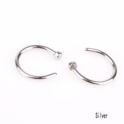 Nose Hoop Ring Stainless Steel Body Piercing 2pcs