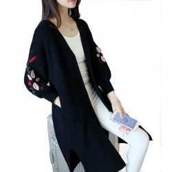 Long Loose Embroidery Knitted Sweater Cardigan