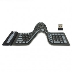 24G Wireless Keyboard Folding RussianEnglish 107Keys Silicone Rubber Waterproof Flexible Foldable