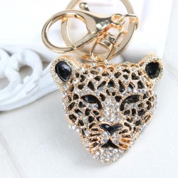 Crystal leopard head pendant - keychain