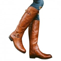 Leather high boots - low heel - waterproof