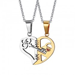 Key lock - Heart shape pendant with necklace 2 pieces