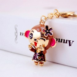 Crystal smiling monkey - keychain