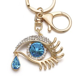 Big Blue Angel Eye & Tear Drop Crystal Keychain Keyring