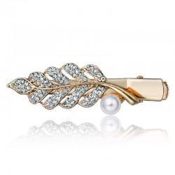 Crystal Leaf & Bead Hair Clip Hairpin