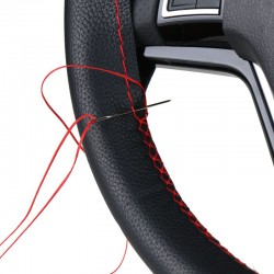 DIY car steering wheel cover repair with needle & thread