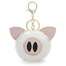 Fur pompom - piggy - keyring