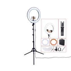 "RL-18"" 55W 240 LED 5500K photography dimmable ring lamp with mirror tripod"