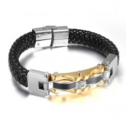 Stainless steel leather bracelet with zirconia