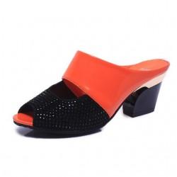 Rhinestones thick heel flip flops sandals
