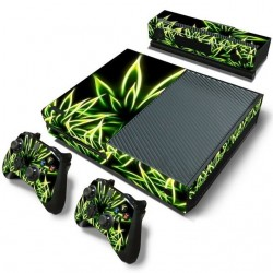 Xbox One Slim green weed protective vinyl skin sticker set
