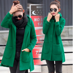 Long hooded coat fleece jacket