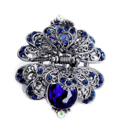 Flower & butterfly crystal vintage hair clip