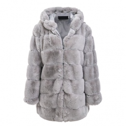 Elegant fluffy hooded long jacket - fur coat - plus size
