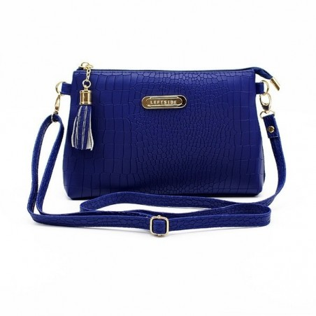 Small elegant leather bag with crocodile pattern