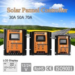 12V 24V 30A 50A 70A MPPT - Controlador de carga solar - Regulador de batería del panel solar - Pantalla LCD USB dual