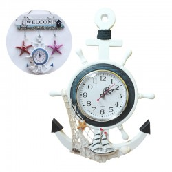 Retro Sea Anchor - Wooden Wall Clock - Mediterranean Style