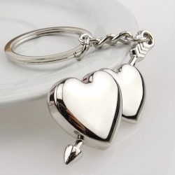 Double heart & arrow - keychain