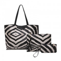 Leather bag with zebra pattern - 3 pcs set