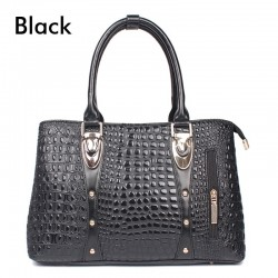 Fashion leather handbag with crocodile skin pattern