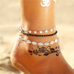 Vintage multi-layer ankle bracelet