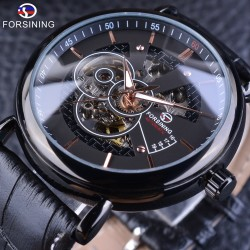 Modern design - luxury watch with leather band - automatic self-winding