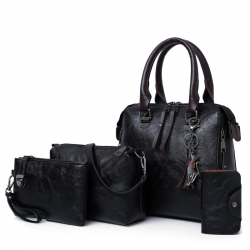 Luxury leather bag set incl purse 4 pcs