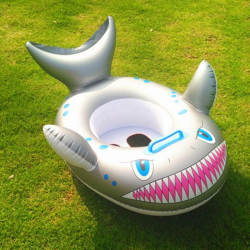 Cartoon shark - inflatable baby swimming ring - seat with handle