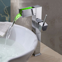 Bathroom sink faucet with color changing LED