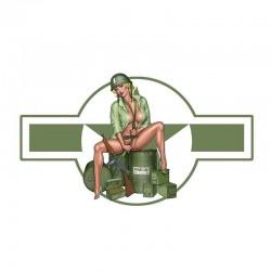 US army girl - car & motorcycle vinyl sticker - waterproof 13 * 7.4cm