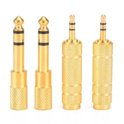 "1/4"" 6.35mm jack stereo gold cable - 6.5mm to 3.5mm - audio adapter - converter for headphone microphone 4 pieces"