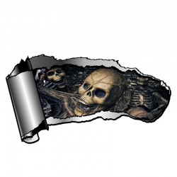 3D torn metal with skull - vinyl car sticker 13 * 7.1cm