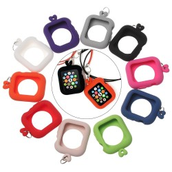 Silicone case cover for Apple Watch 38mm 40mm 42mm 44mm with rope necklace